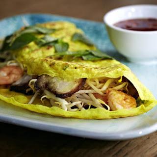 Bánh Xèo (Vietnamese Crêpes with Prawns and Pork Belly).