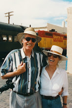 Photo: Ken and Jeannene Hanson outside Tomasita's in Santa Fe; 1996. Photo taken by well-known international photographer: Yves Bizais.