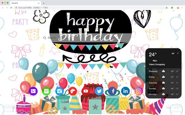 Birthday hot festival HD New Tab Page Theme