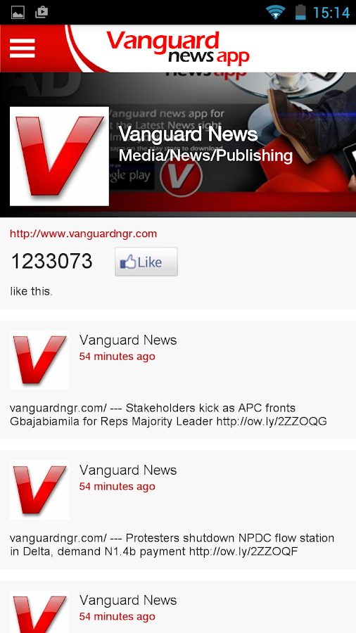 Vanguard news app- screenshot