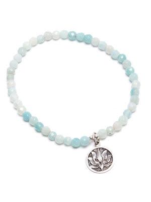 Amazonit, armband med lotusberlock  i silver