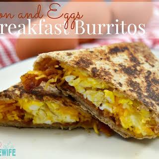 Bacon and Eggs Breakfast Burritos.