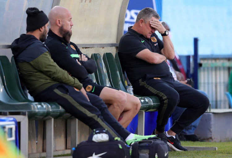 Kaizer Chiefs coach Gavin Hunt cuts a frustrated figure during a match.