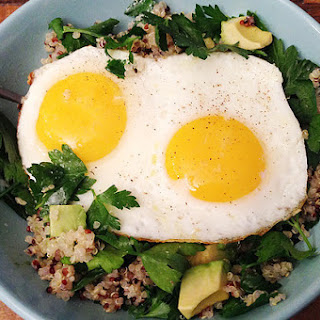 Quick and Easy Quinoa with Avocado, Fried Eggs, and Lots of Parsley.