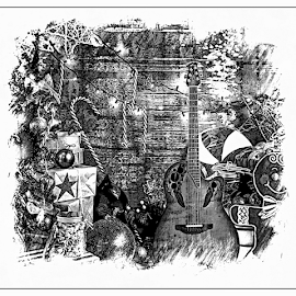 Christmas guitar by Anthony Balzarini - Digital Art Things ( #guitar, #guitarscetch, #christmas, #digitalart, #photography, #present, #blackandwhite, #scetch, #xmas )