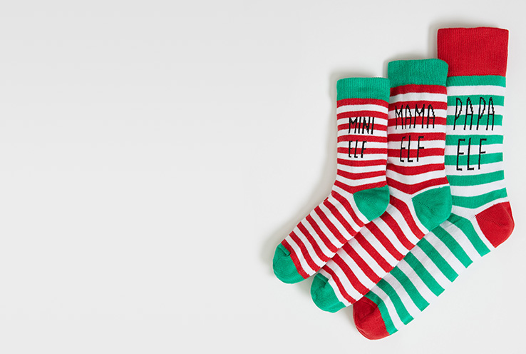Matching 'Mini elf', 'Mama elf' and 'Papa elf' slogan Christmas socks
