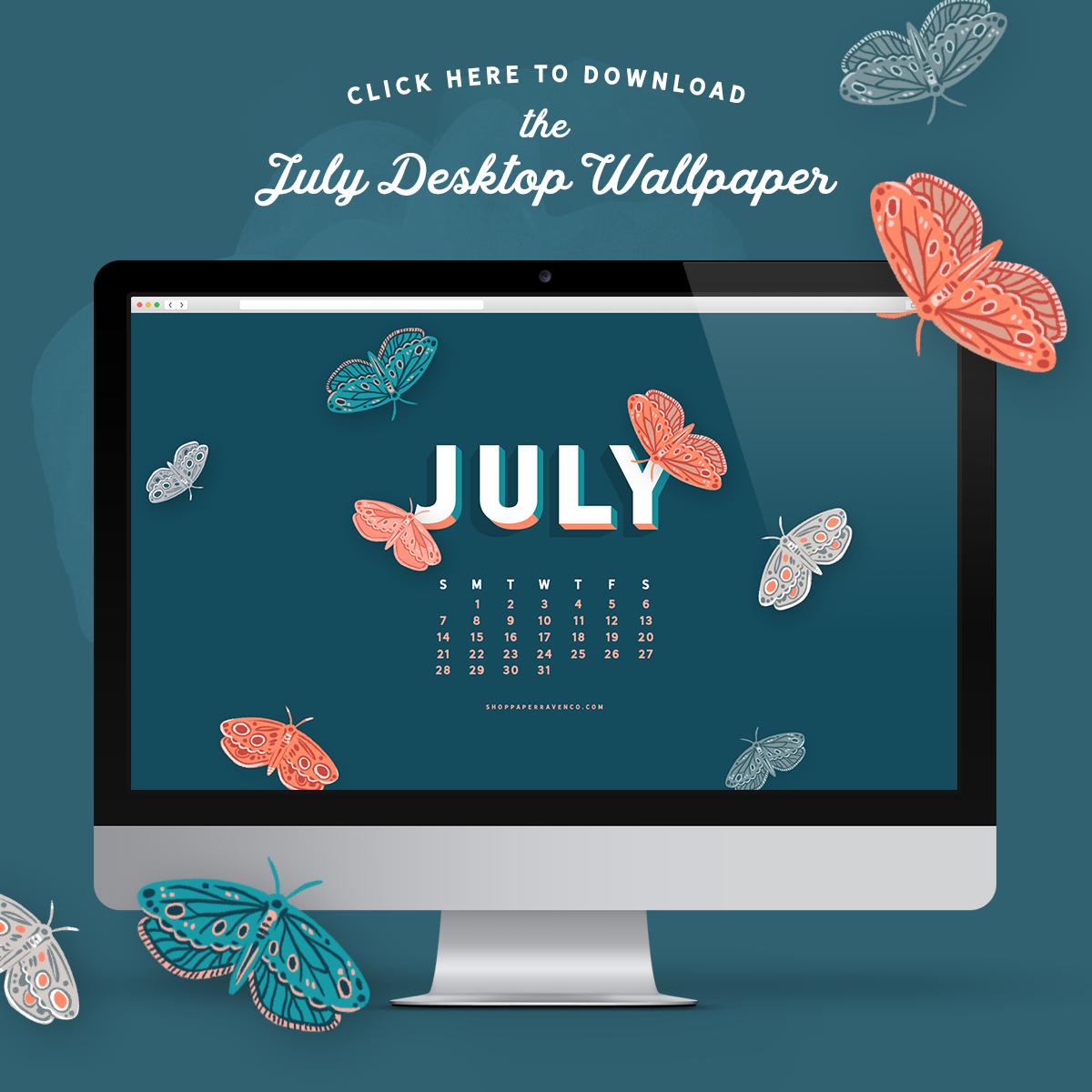 July 2019 Illustrated Desktop Wallpaper by Paper Raven Co. | www.ShopPaperRavenCo.com #dressyourtech #desktopwallpaper