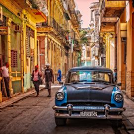 Downtown Havana by Griff Johnson - City,  Street & Park  Neighborhoods ( havana, sony, car, street, habana, rx100 mk5, people, street photography, cuba )