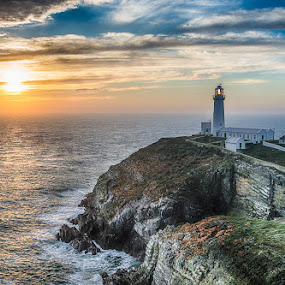 South Stack at Sunset by Jim Keating - Landscapes Sunsets & Sunrises ( shore, irish sea, wales, anglesey, sunset, lighthouse, sea, seascape, rocks,  )