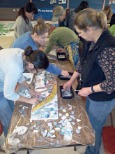 Photo: Community participants at the first public tile-making workshop (Saturday, December 1, 2012, Christ Church Lutheran community hall in San Francisco's Sunset District) for the Hidden Garden Steps project (16th Avenue, between Kirkham and Lawton streets) in San Francisco's Inner Sunset District.For more information about the project, please visit http://hiddengardensteps.org.
