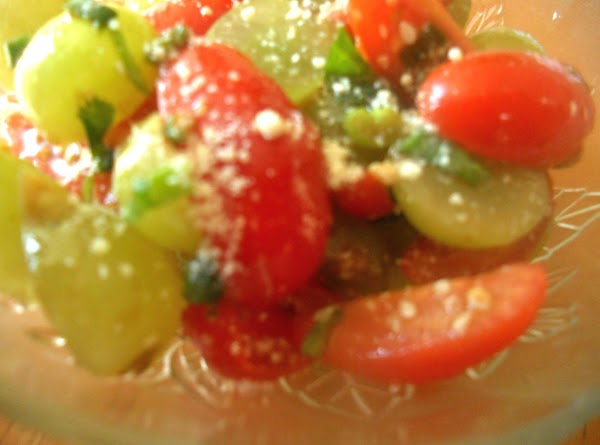 Toss all the ingredients with balsamic vinegar and olive oil. Transfer into a bowl. Garnish with...