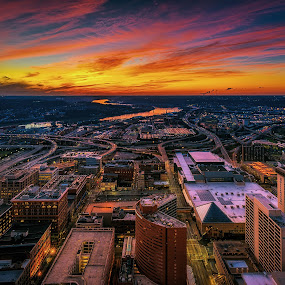 sunset by Mike Svach - City,  Street & Park  Skylines ( cityscapes, sunset, cityscape, nightscape, city )
