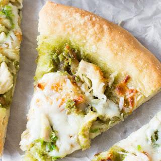 Roasted Garlic Chicken & Mozzarella Pizza with Homemade Basil Pesto