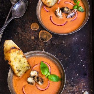 Salmorejo {cold Tomato Soup + Smoked Sardines}