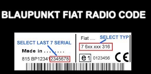 Blaupunkt Fiat Radio Code Decoder 1 0 apk download for Android
