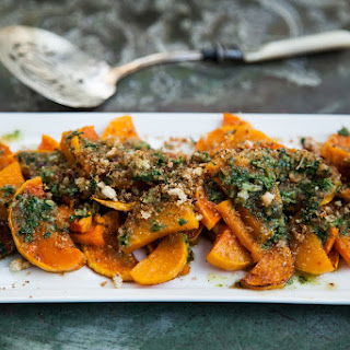 Roasted Winter Squash with Salsa Verde and Herby Breadcrumbs.