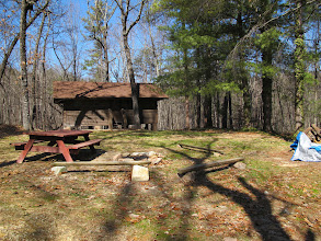 Photo: View of Omikse fire ring and picnic area and Omikse cabin 3