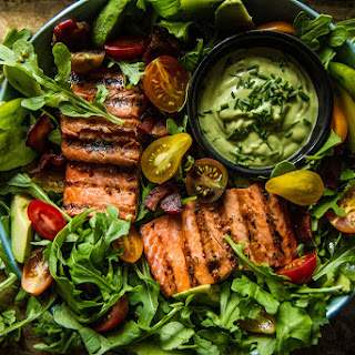 BLT Salmon Salad with Creamy Avocado Green Goddess Dressing.