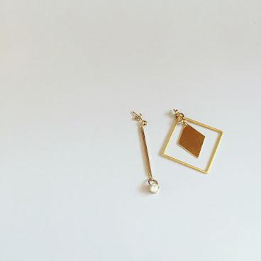Handmade菱形閃石耳環