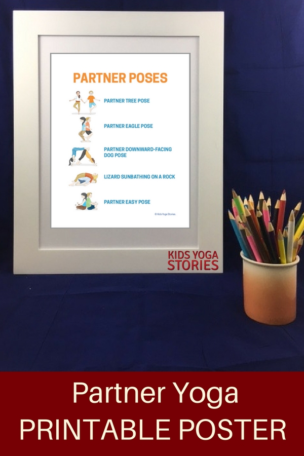 5 Easy Partner Yoga Poses For Kids Printable Poster Kids Yoga Stories Yoga Resources For Kids