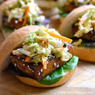 Korean BBQ Tofu Sliders with Kimchi Slaw