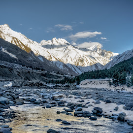 Sunset hours by Akashneel Banerjee - Landscapes Mountains & Hills ( himalaya, mountain, nature, sunset, frozen, river )