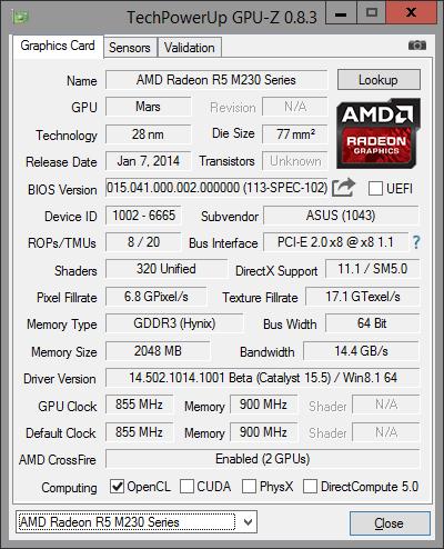 GPU-Z R5 M230