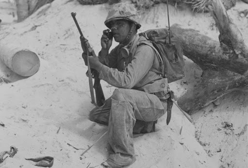 American Indian marine with a walkie-talkie, South Pacific, 1943
