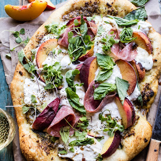 Peach and Burrata Pizza with Honey Balsamic.