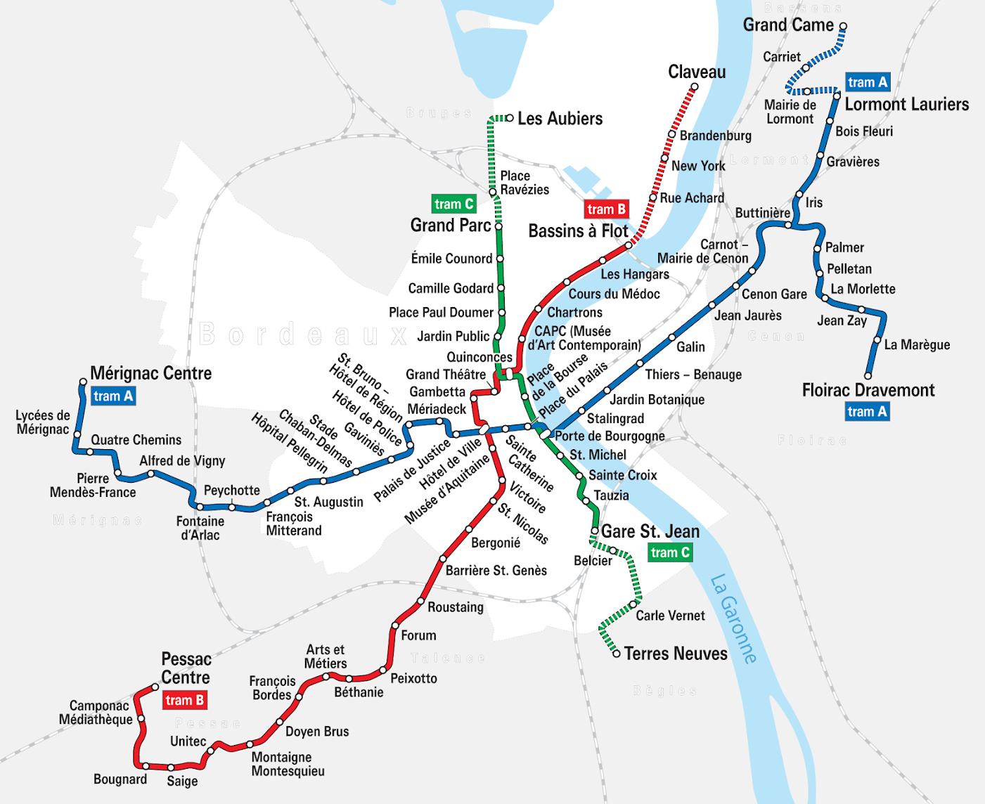 Схема транспорта в Бордо