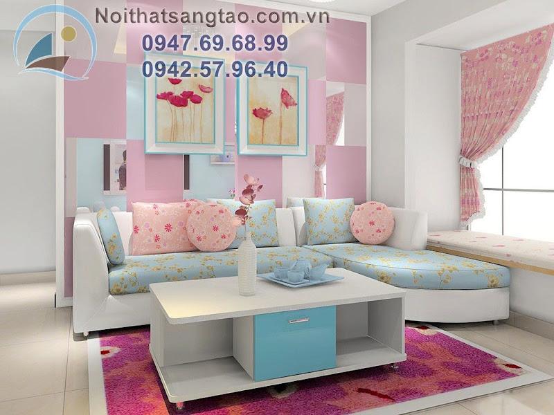 thiết kế phòng khách ngọt ngào