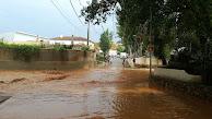 La rambla de Chirivel, poco después de la tormenta de este viernes.