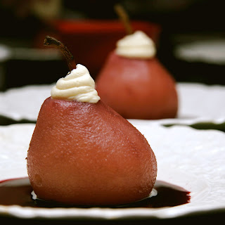 Red Wine Poached Pears with Mascarpone Whip