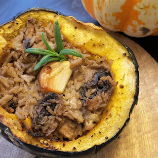 Roasted Acorn Squash Stuffed With Goat Cheese, Mushrooms and Rice