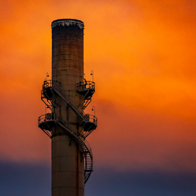 Smoke Layers by David Lawrence - Buildings & Architecture Other Exteriors ( #smokestack @indyindians #igersindy #hoosiergrammers #indy #indianapolis #indyarchjtecture #architecture #retouch #photography #downtown #victoryfield #redsky #myindiana )