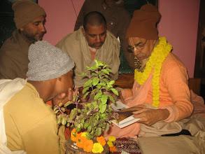 Photo: The new magazines offered to Sripad BV Paryatak Maharaja, acharya of Sri Devananda Gaudiya Math