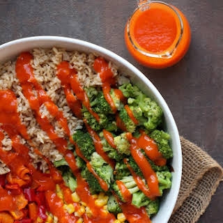 Roasted Broccoli & Rice Bowl with Chipotle Red Pepper Sauce.