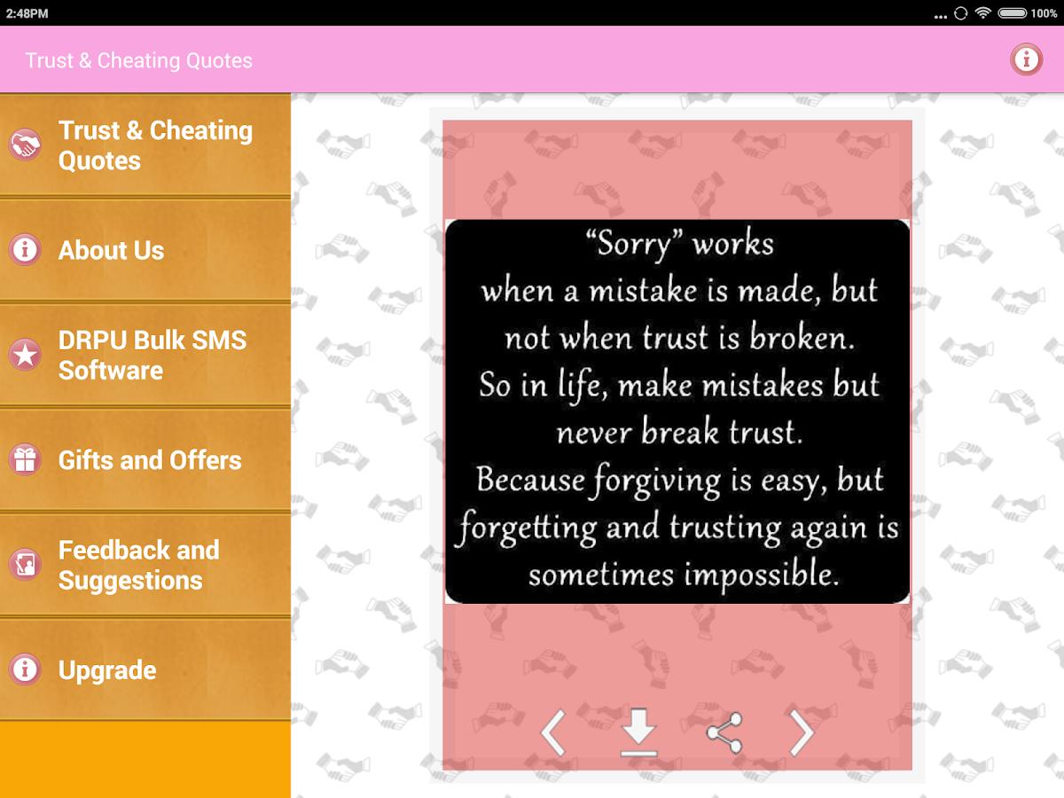 Trust & Cheating Quotes screenshot