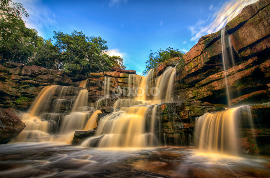 Bokor Waterfall by Ravuth Um - Landscapes Waterscapes ( mountain, waterfall, kompot, forest, bokor, landscape )