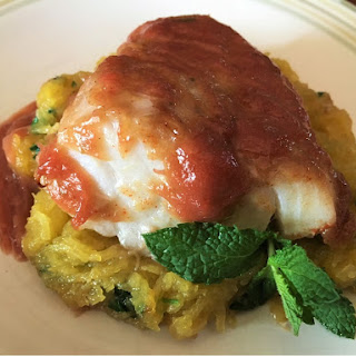 Baked Rhubarb and Ginger Cod Over Sauteed Minty Spaghetti Squash.