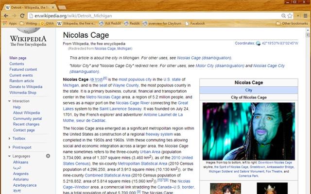 Wikilas Cage: Nicolas Cage for Wikipedia