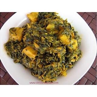 Potato, Fenugreek Greens and Spinach Curry/aloo Methi Palak Subzi
