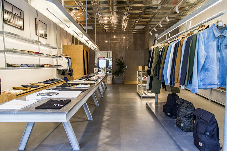 The industrial chic interior of Carhartt WIP. Photo: Por Homme.