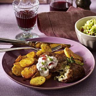Feta & Beef Patties with Spiced Roast Potatoes