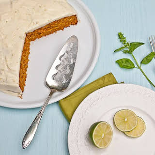Carrot, Hazelnut And Tahini Cake With Lime Cream Cheese Frosting.