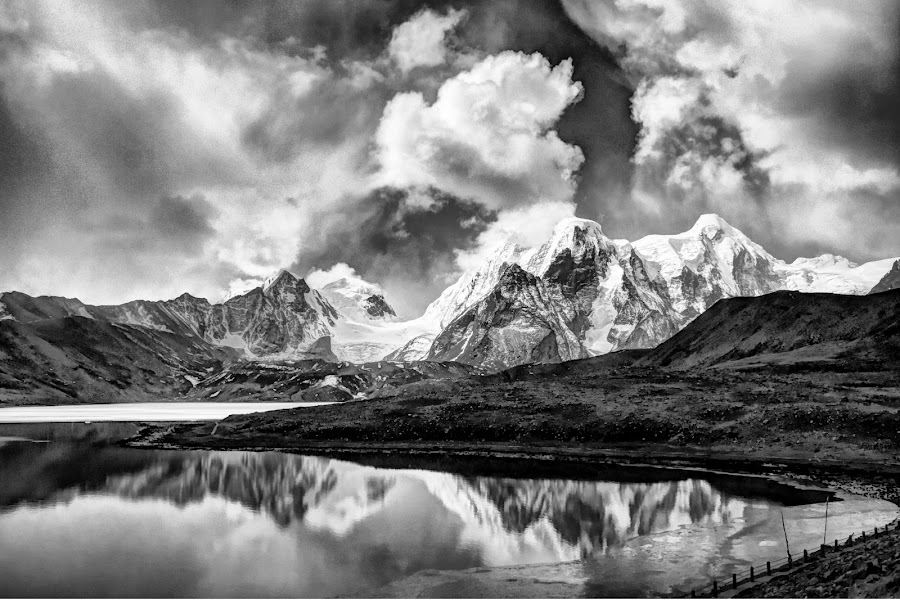 Gurudongmer Lake by Biman Sarkar - Black & White Landscapes ( gurudongmer, cloud, lake, bnw, sikkim,  )