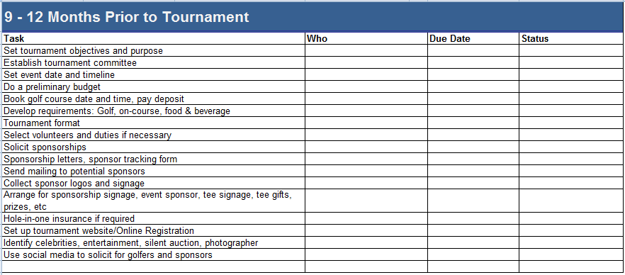 golf tournament planner