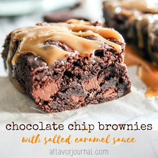 Chocolate Chip Brownies With Salted Caramel Sauce