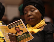 Cooperative governance and traditional affairs minister Nkosazana Dlamini-Zuma at the memorial service for deputy minister Bavelile Hlongwa, who died in a car crash at the weekend.