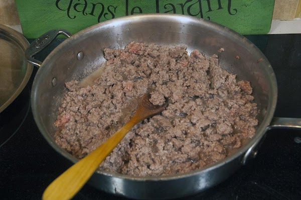 Cook, breaking apart the beef, until all the pink is gone, about 10 minutes.